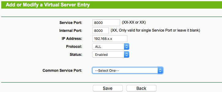 configurar NAT cirtual server en router